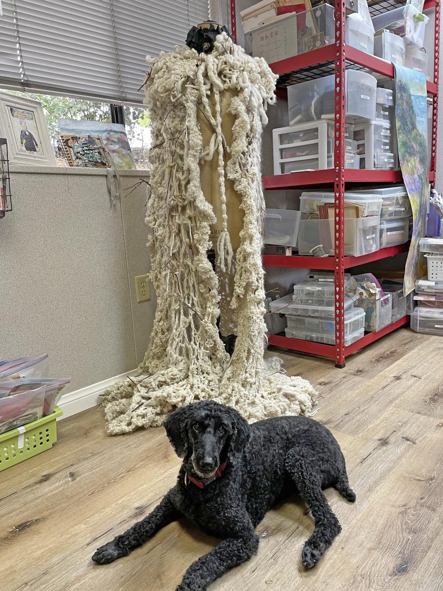 Poodle in Art Studio
