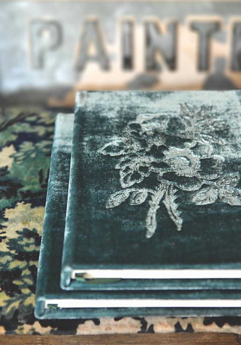 Lanne-Blue-velvet-embossed-book